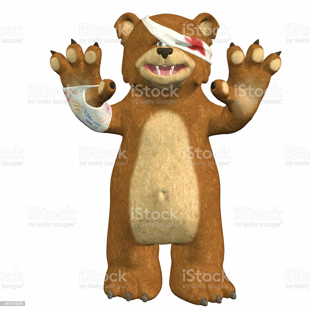 Illustration of a wounded bear stock photo