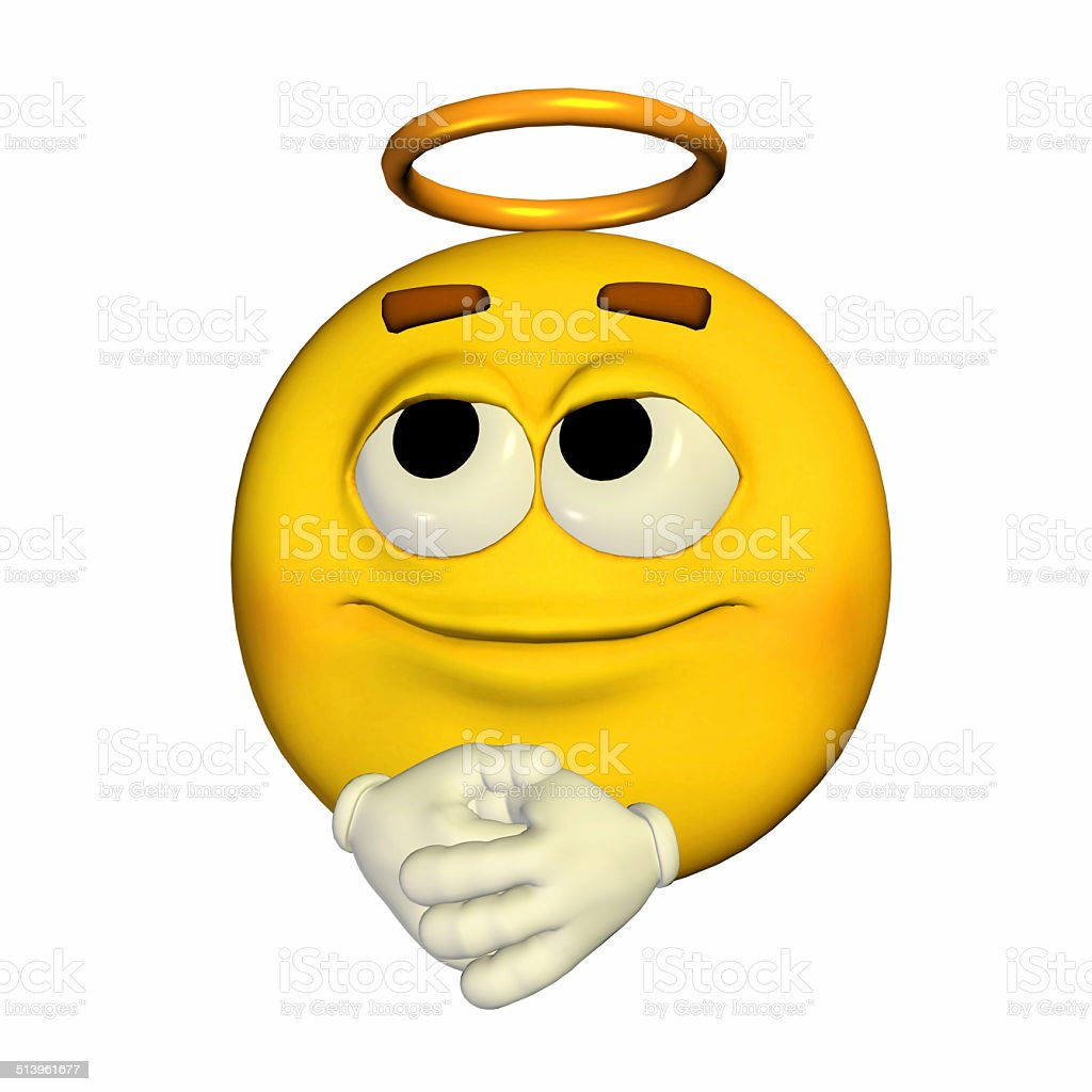 Illustration of a yellow angel smiley stock photo