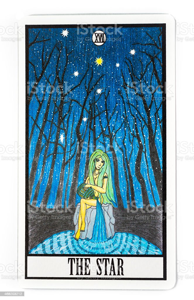 Illustration of a young woman in a forest at night stock photo