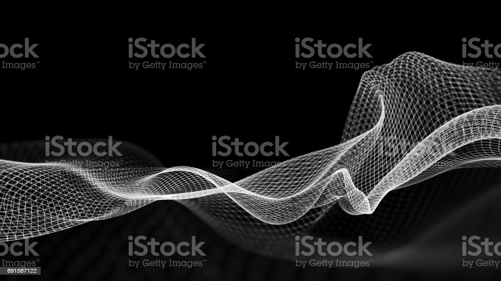 3D illustration of abstract wave structure scientific background stock photo