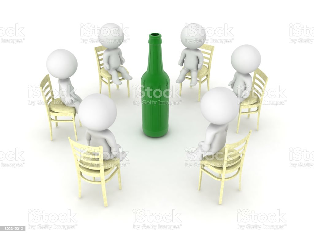 3D illustration of alcoholics anonymus twelve step program meeting stock photo