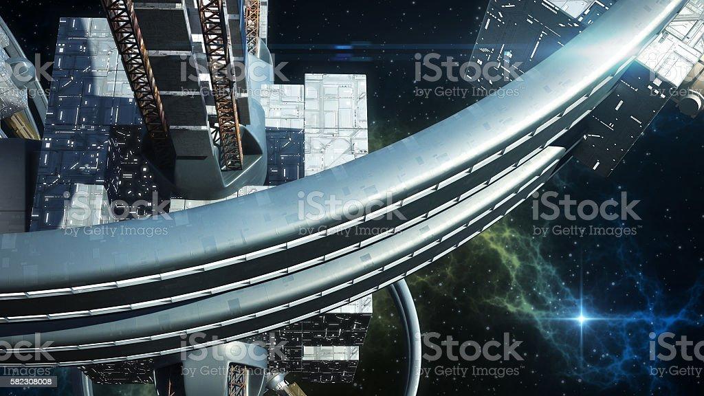 3D Illustration of alien spaceship stock photo