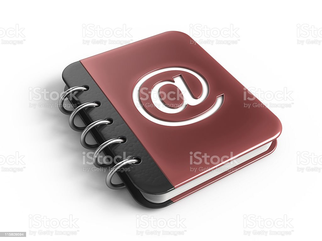 3D illustration of an address book with @ symbol on cover stock photo