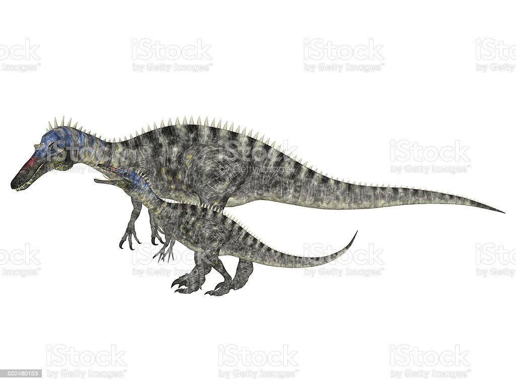 Illustration of an adult and a young Suchomimus vector art illustration