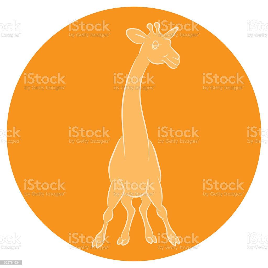Illustration of an amusing animation giraffe for the children's stock photo