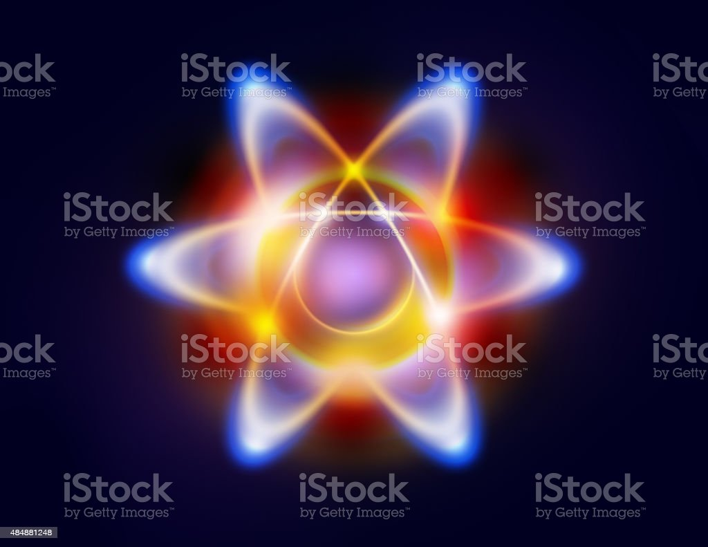 Illustration of an atom and orbiting electrons stock photo