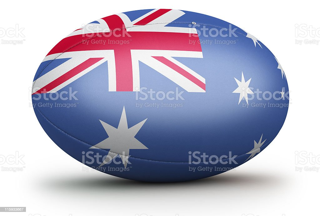 A 3D illustration of an Australian rugby ball stock photo