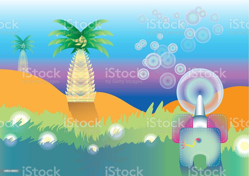 Illustration of an elephant in savannah stock photo