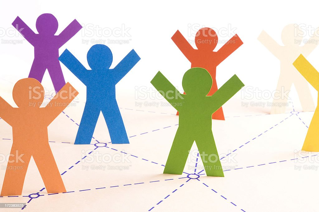 Illustration of animated figures working together royalty-free stock photo