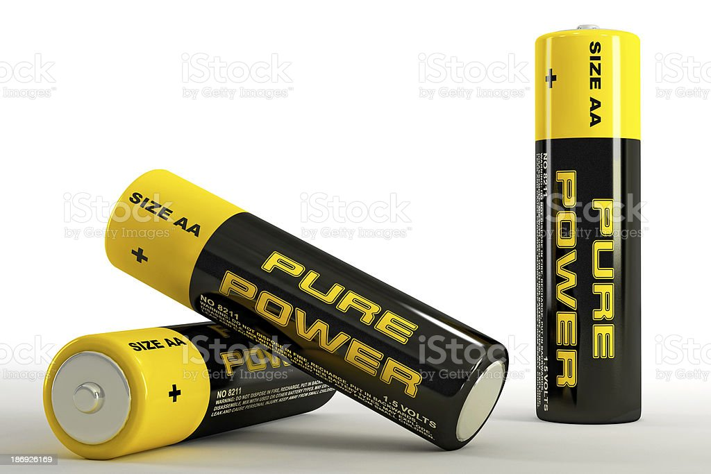 3D illustration of batteries royalty-free stock photo