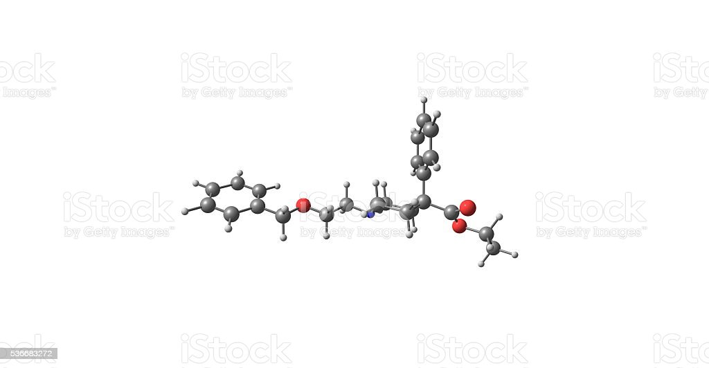 3D illustration of Benzethidine molecular structure isolated on white stock photo