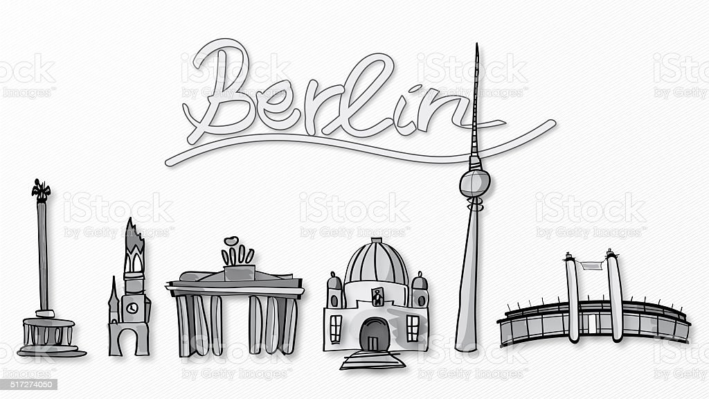 Illustration of Berlin landmarks stock photo