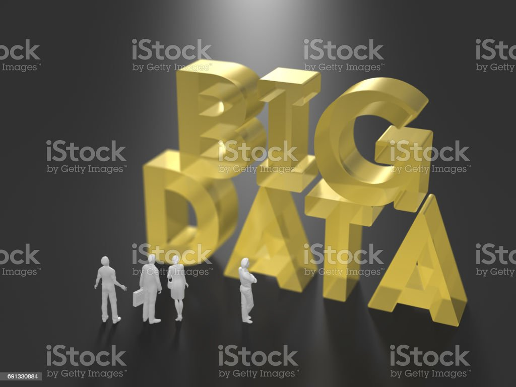 3D illustration of big data utilization stock photo
