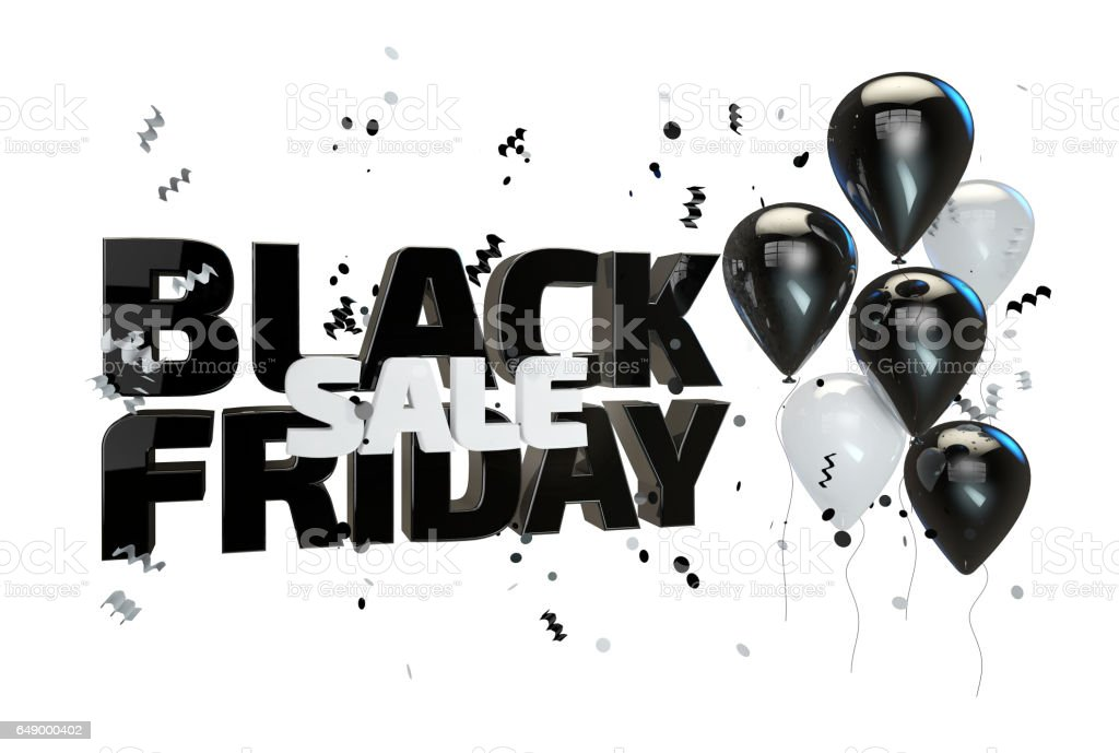 3D illustration of Black friday sale poster. Sale banner with balloons and confetti stock photo