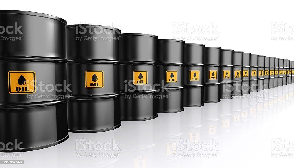 3D illustration of Black Metal Oil Barrels. stock photo