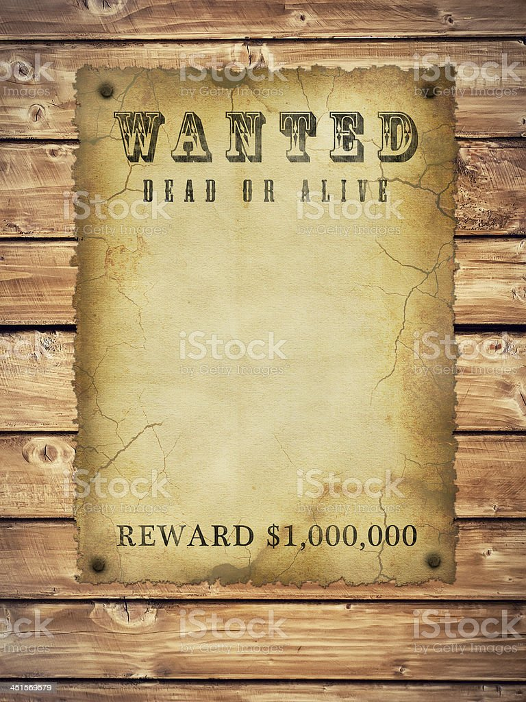 Illustration of blank old WANTED parchment placed on wood royalty-free stock photo
