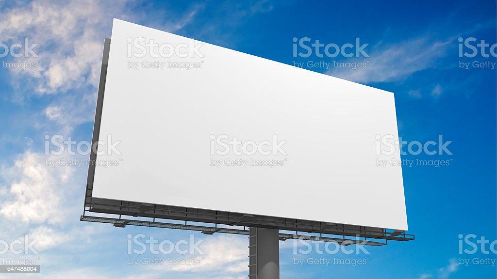 3D illustration of blank white billboard against blue sky. stock photo