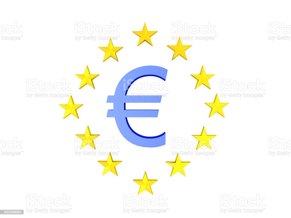 3d Illustration Of Blue Euro Currency Symbol With Twelve Stars
