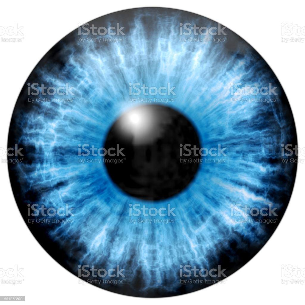 Illustration of blue eye iris, light reflection. stock photo