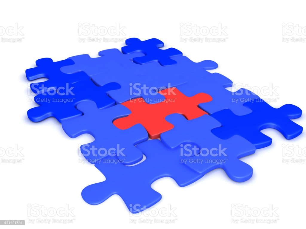 3D illustration of blue jigsaw puzzles pieces with a red one in the middle stock photo