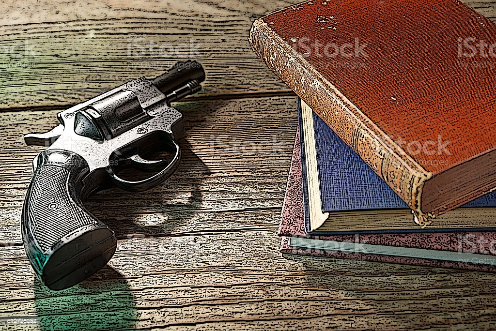 illustration of books and handgun stock photo