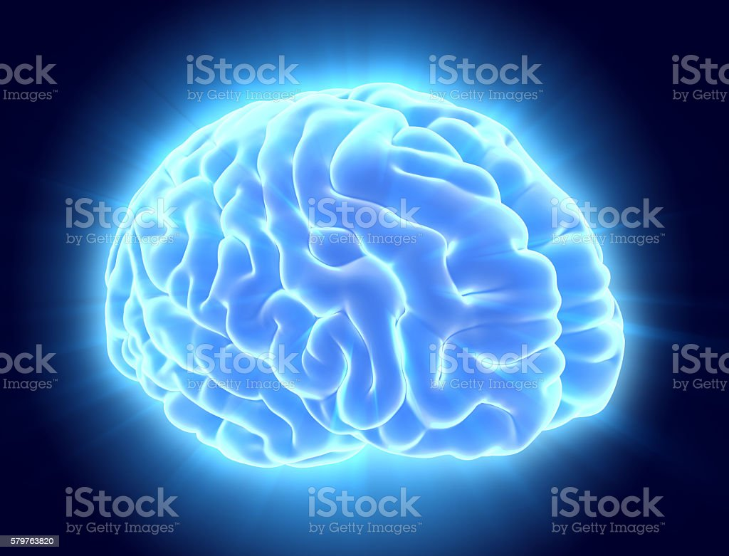 3D illustration of bright blue brain. stock photo