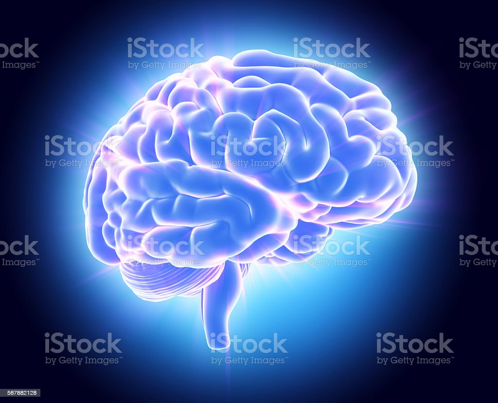 3D illustration of bright blue brain. stock photo