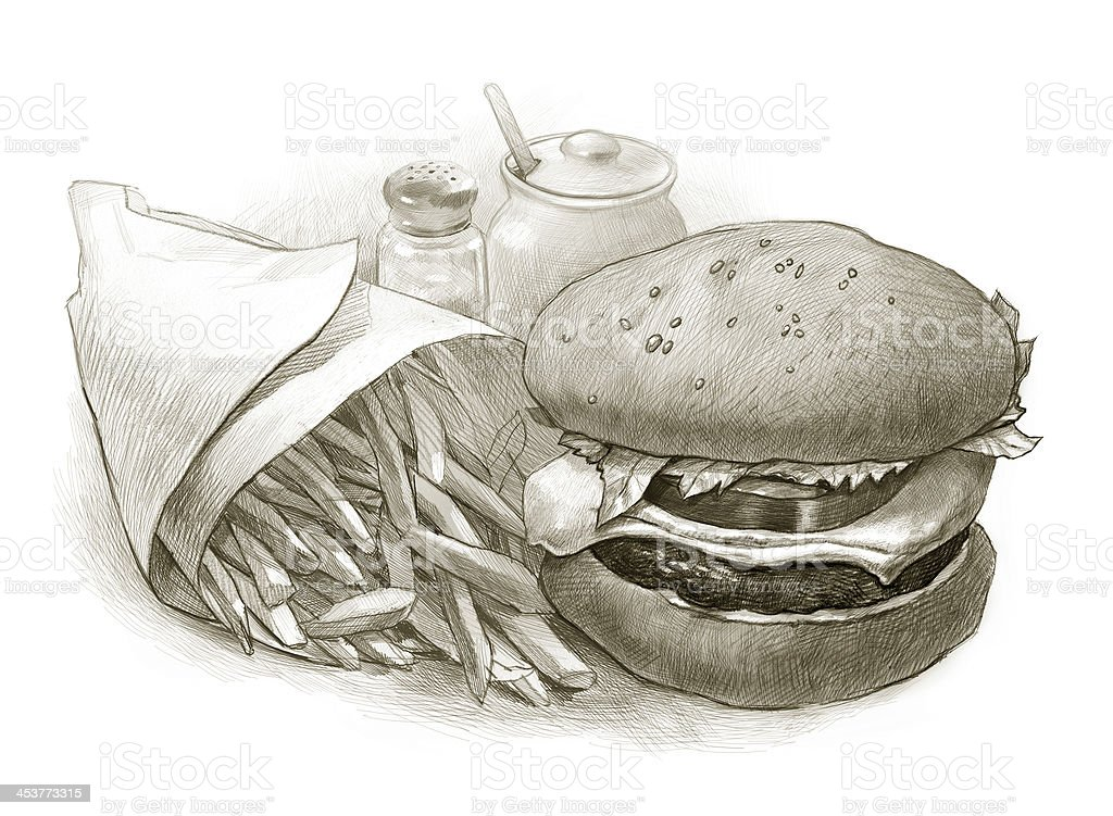 Illustration of Cheeseburger and French Fries stock photo
