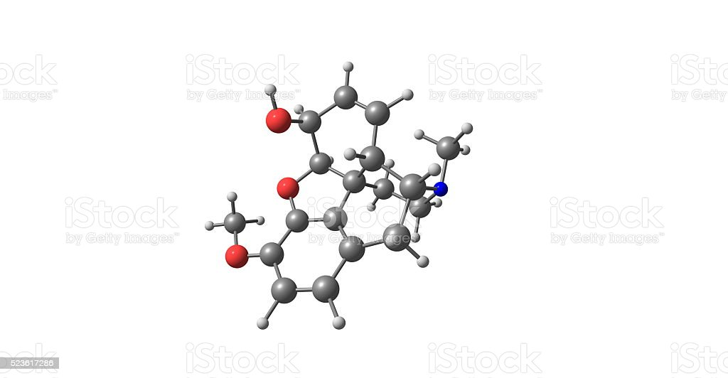 3D illustration of Codeine molecular structure isolated on white stock photo