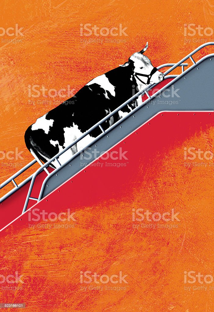 Illustration of cow boarding in a plane stock photo