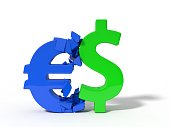 illustration of crashing dollar and euro currency signs.