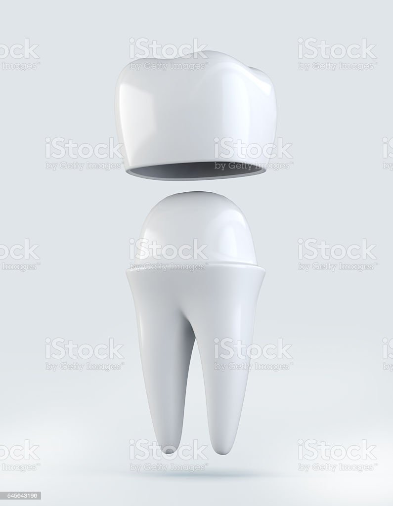 3D illustration of Crown tooth on white background. stock photo