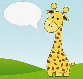 Illustration of cute giraffe with speech bubble