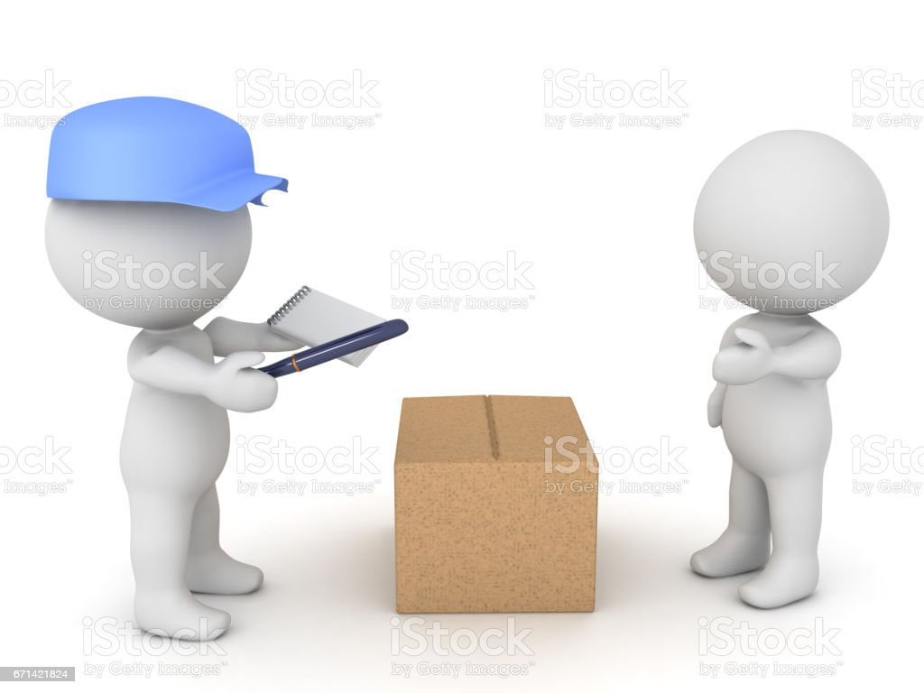 3D illustration of delivery man bringing package to a customer. stock photo