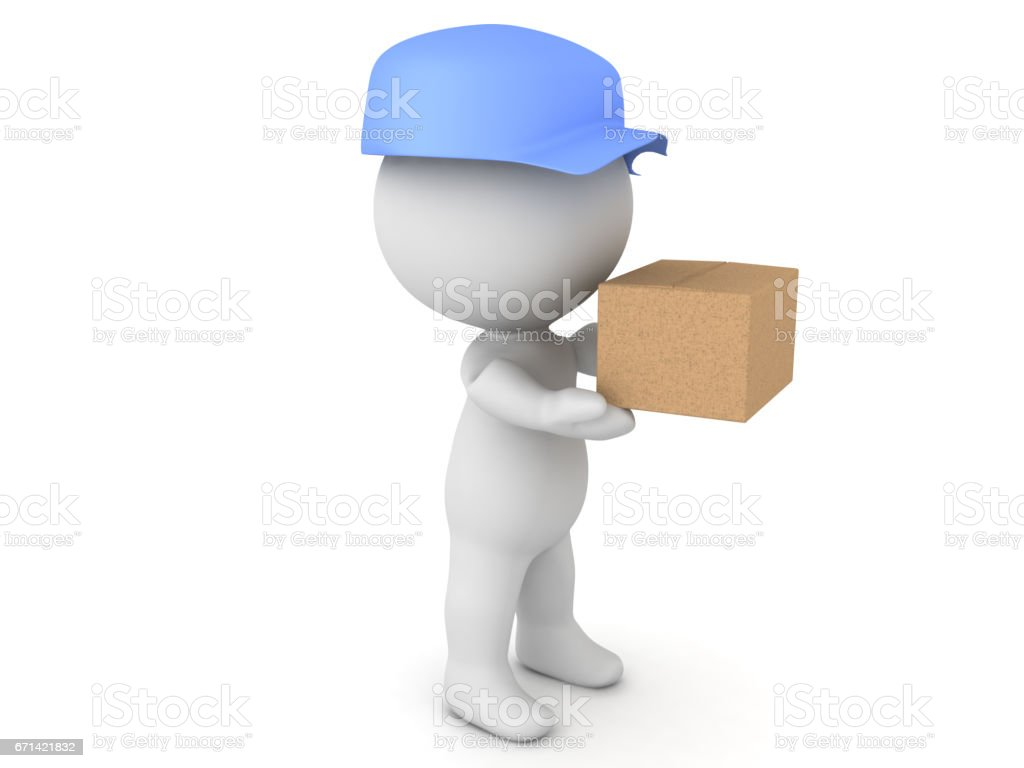 3D illustration of deliveryman holding package stock photo