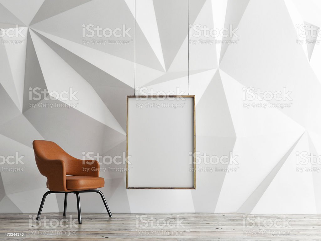 3D illustration of empty interior design with mock up poster stock photo