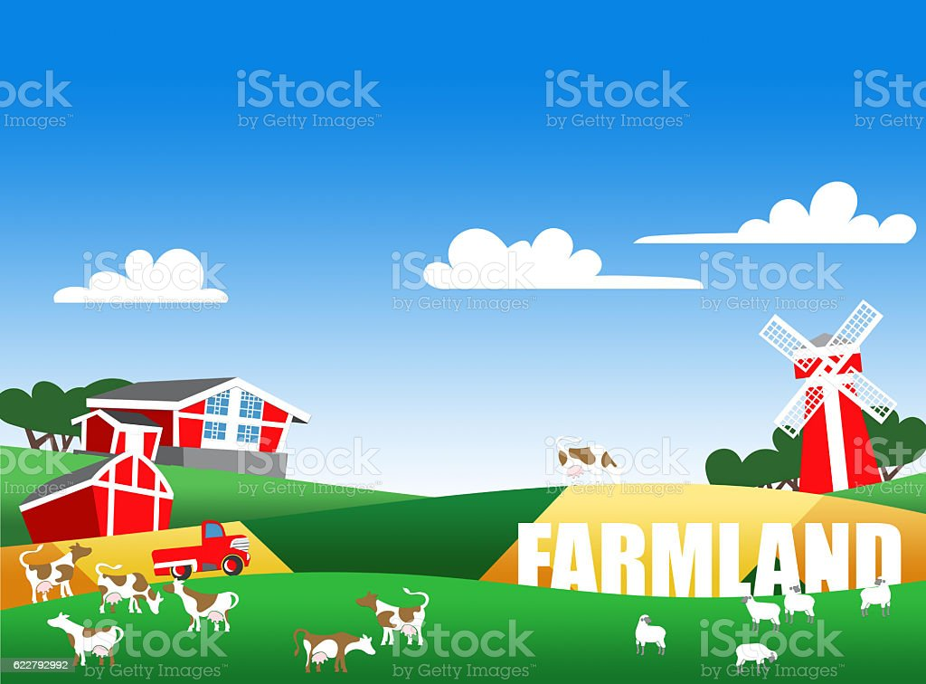 Illustration of farm landscape with text stock photo