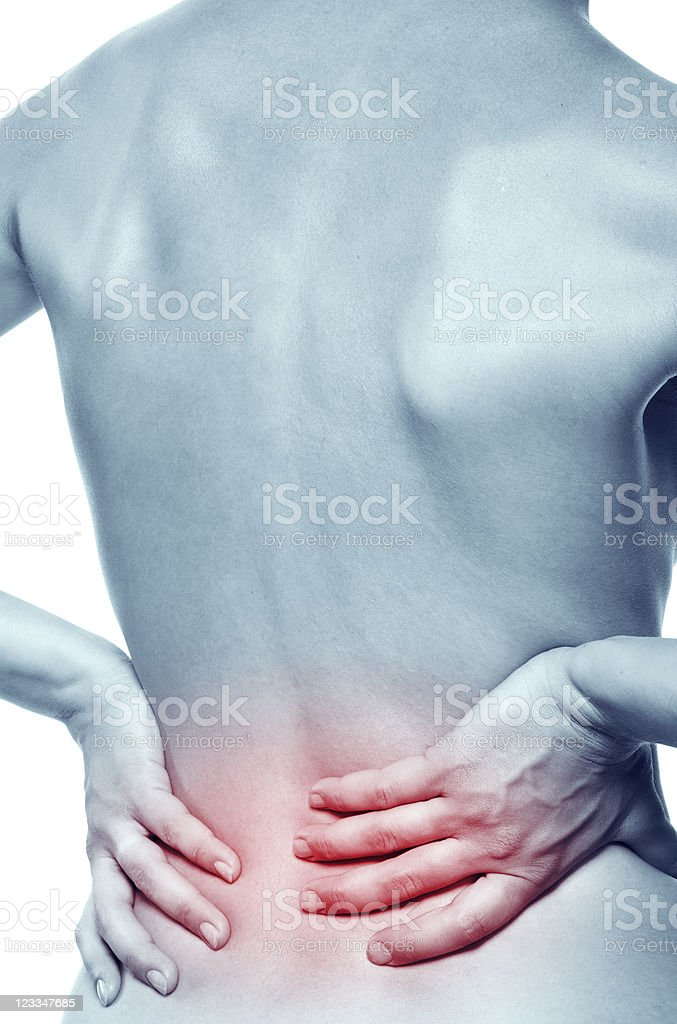 Illustration of females naked backside with hands on pain royalty-free stock photo