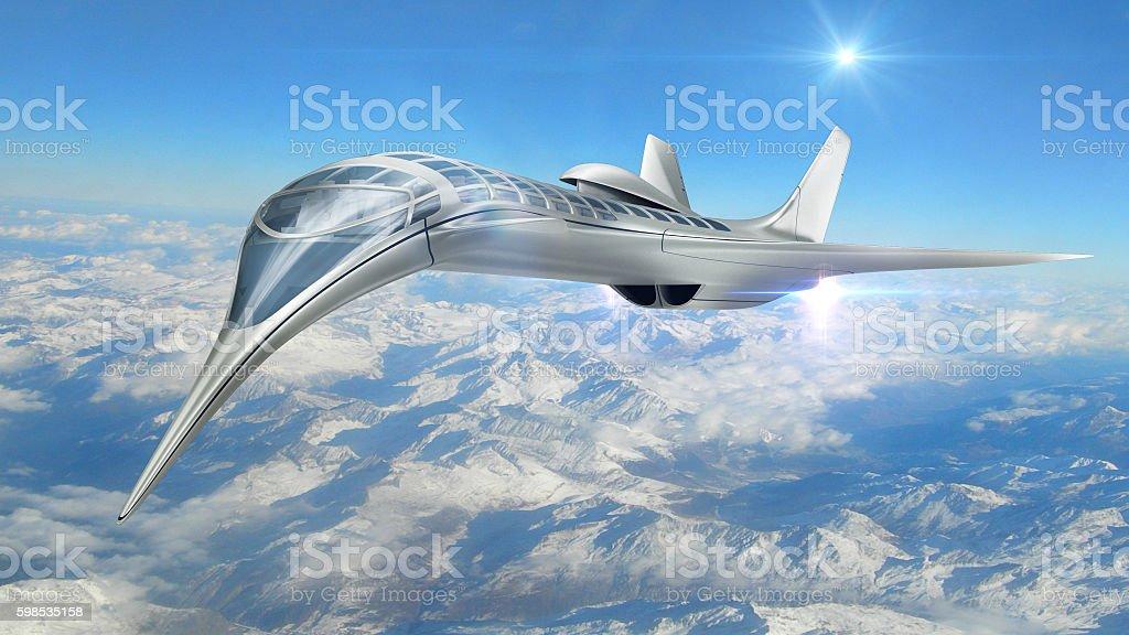 3D illustration of futuristic aircraft stock photo
