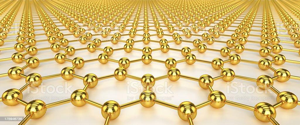 Illustration of gold nanotechnology against white background stock photo