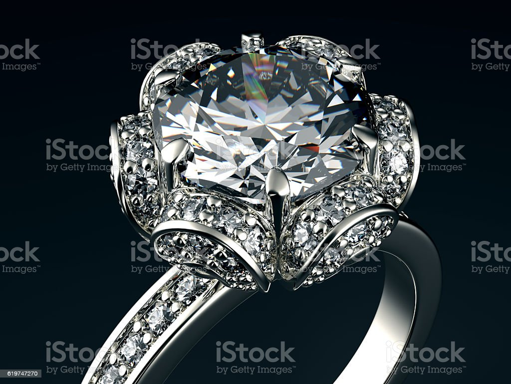 3D illustration of gold Ring with Diamond. Jewelry background stock photo