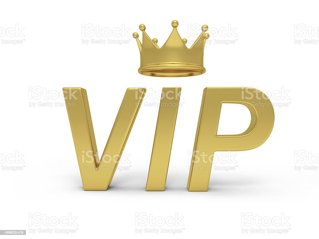 3D illustration of golden VIP text with crown stock photo