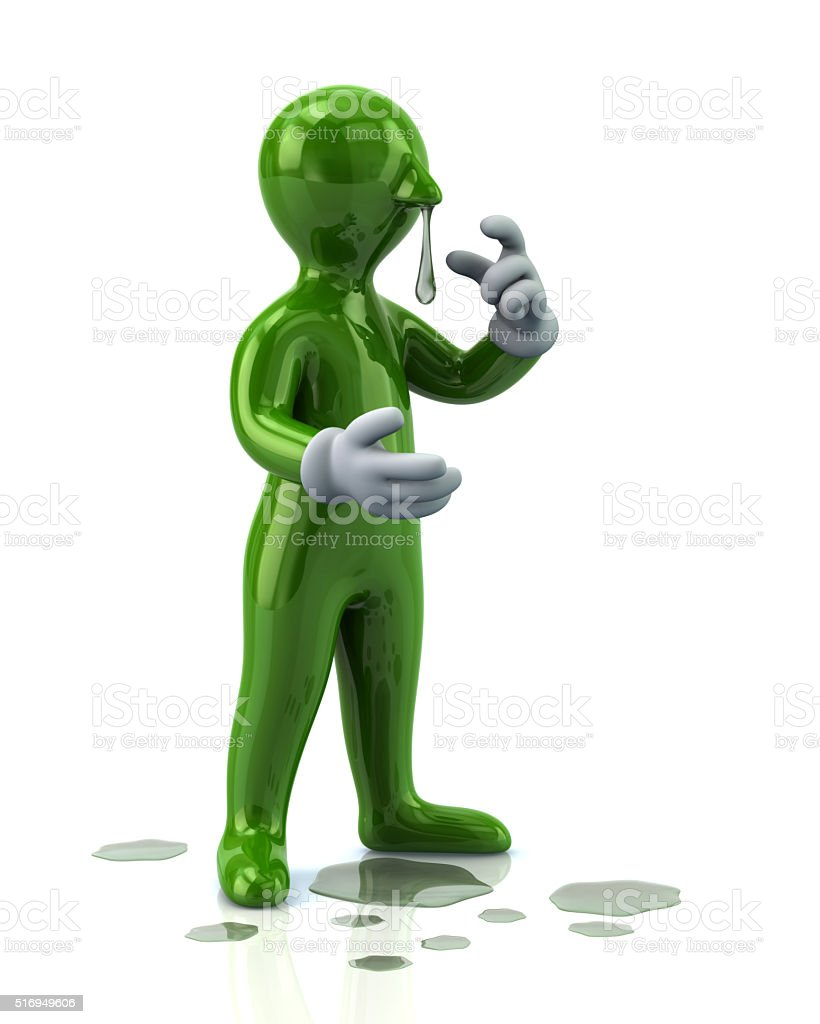 Illustration of green man with a flu and running nose stock photo