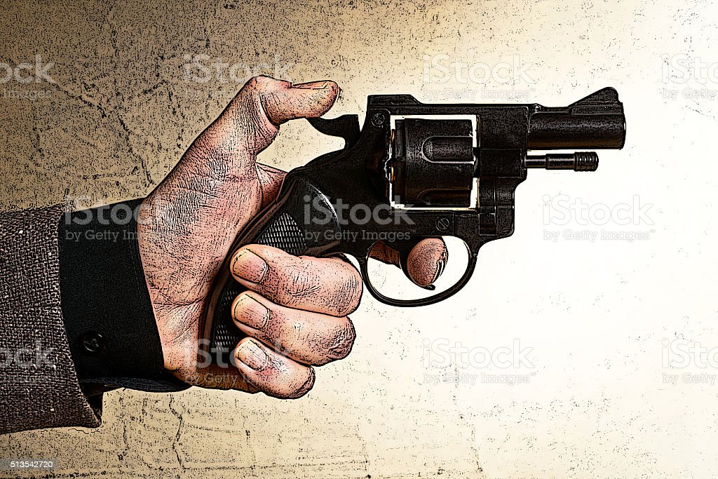 illustration of hand holding a gun stock photo