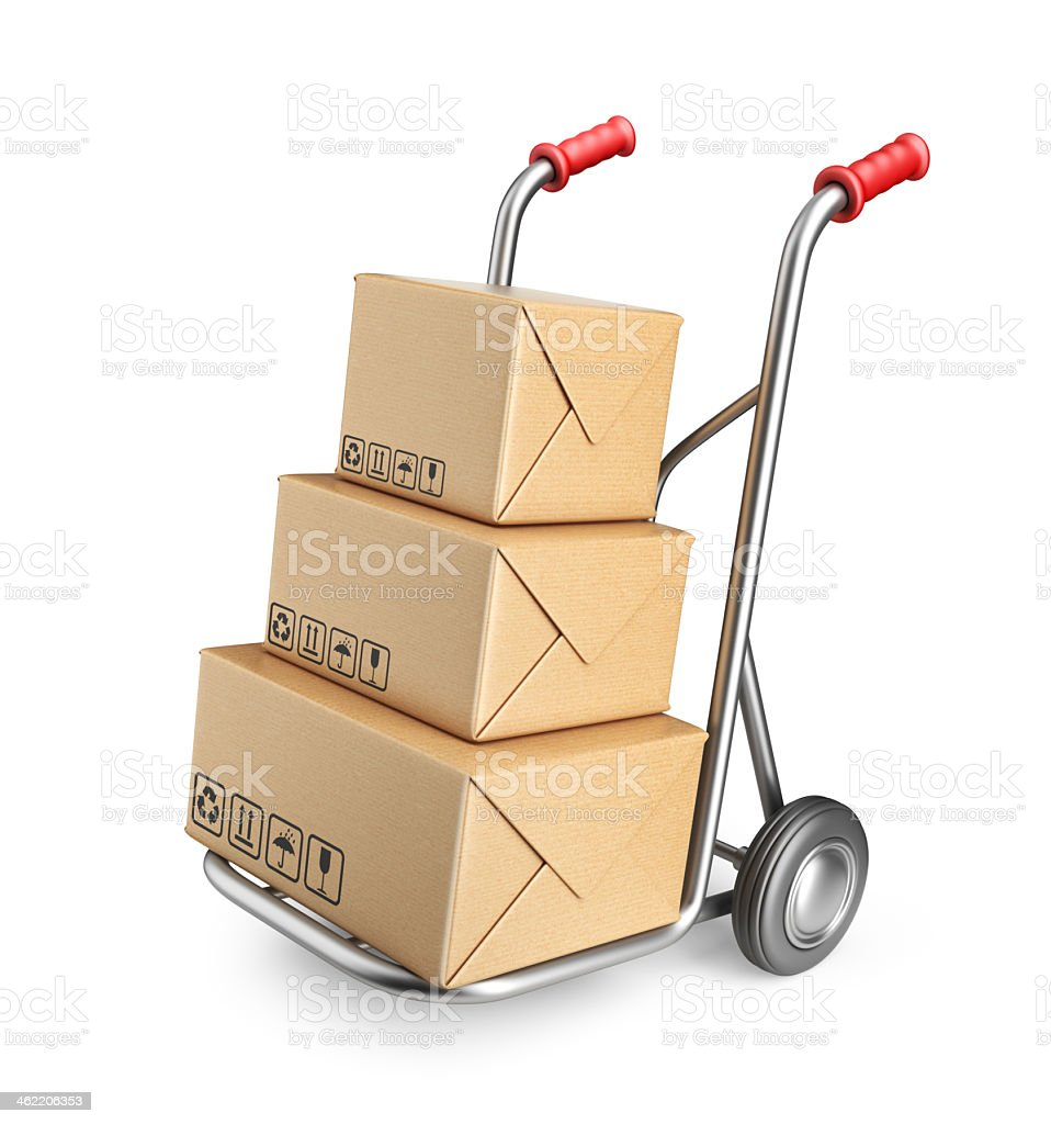 3D illustration of hand truck with cardboard boxes stock photo