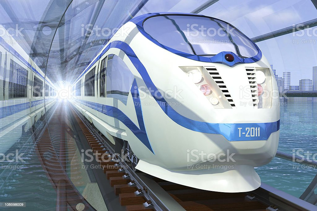 Illustration of high speed train in tunnel over water stock photo