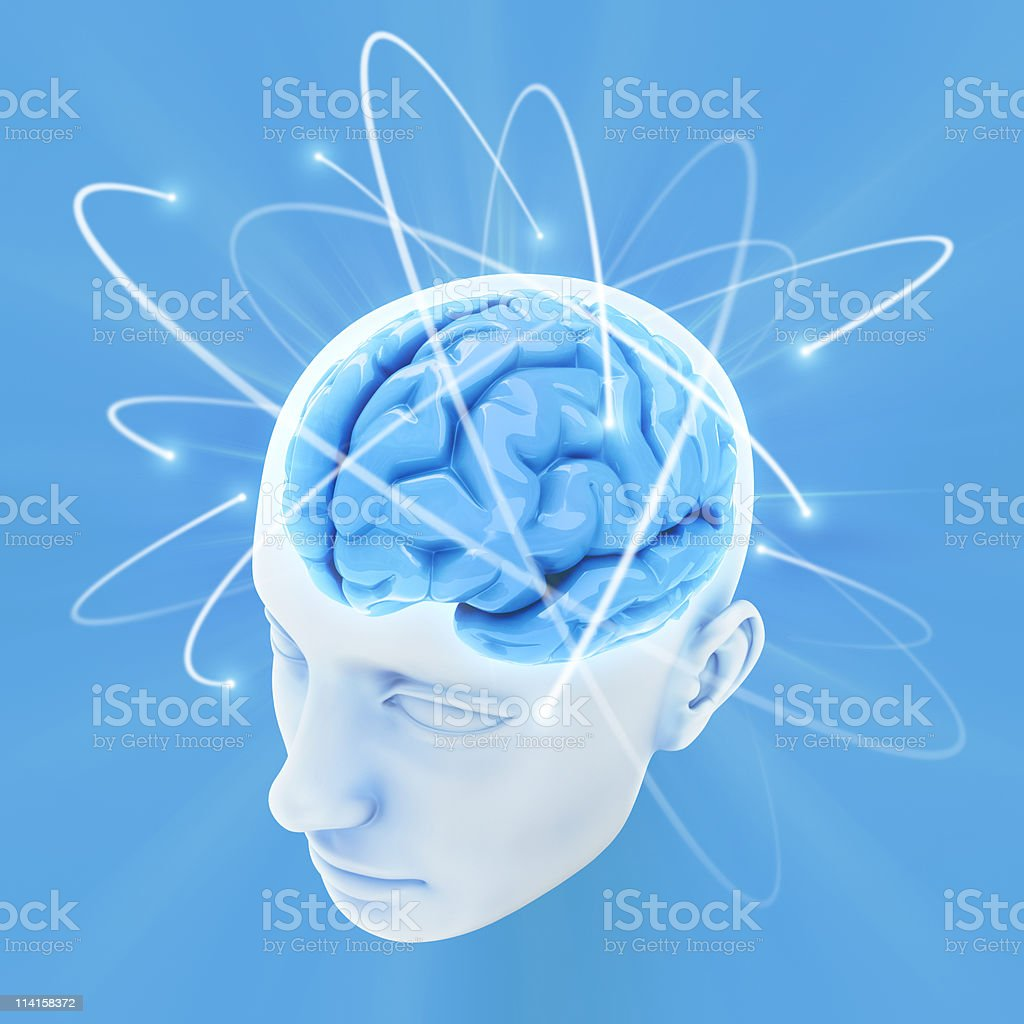 Illustration of human brain and power of mind royalty-free stock photo