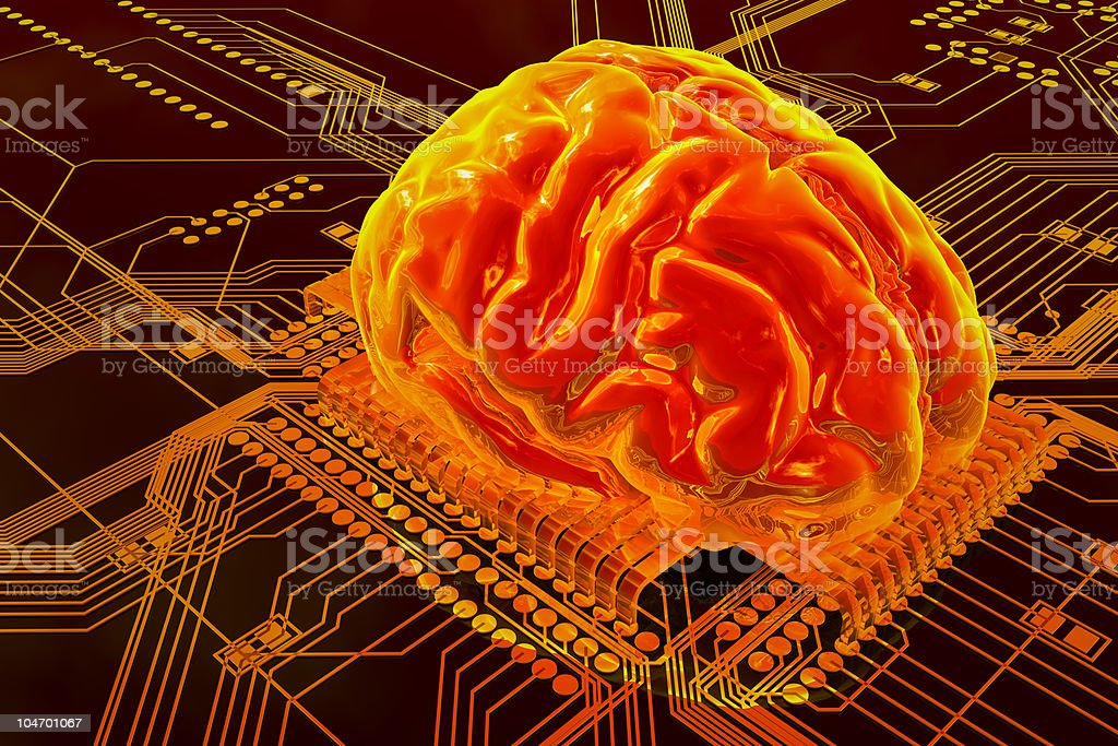 Illustration of human brain on technology background royalty-free stock photo