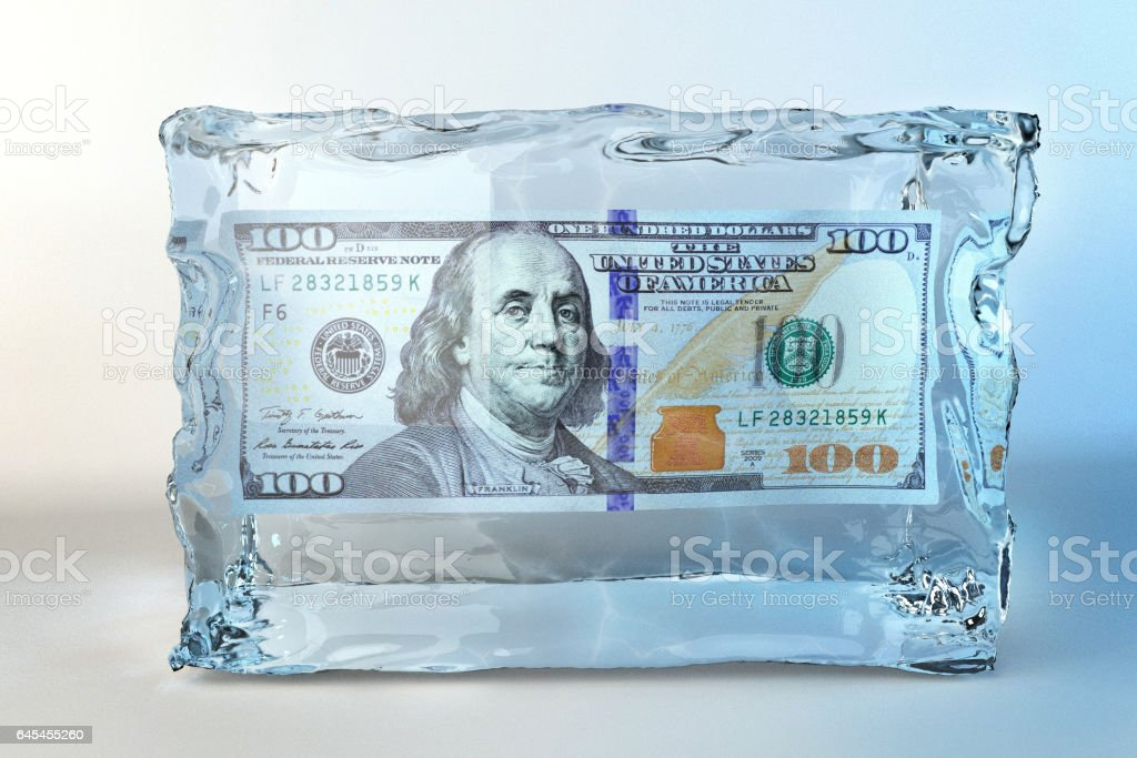 illustration of ice cube with one hundred dollar stock photo
