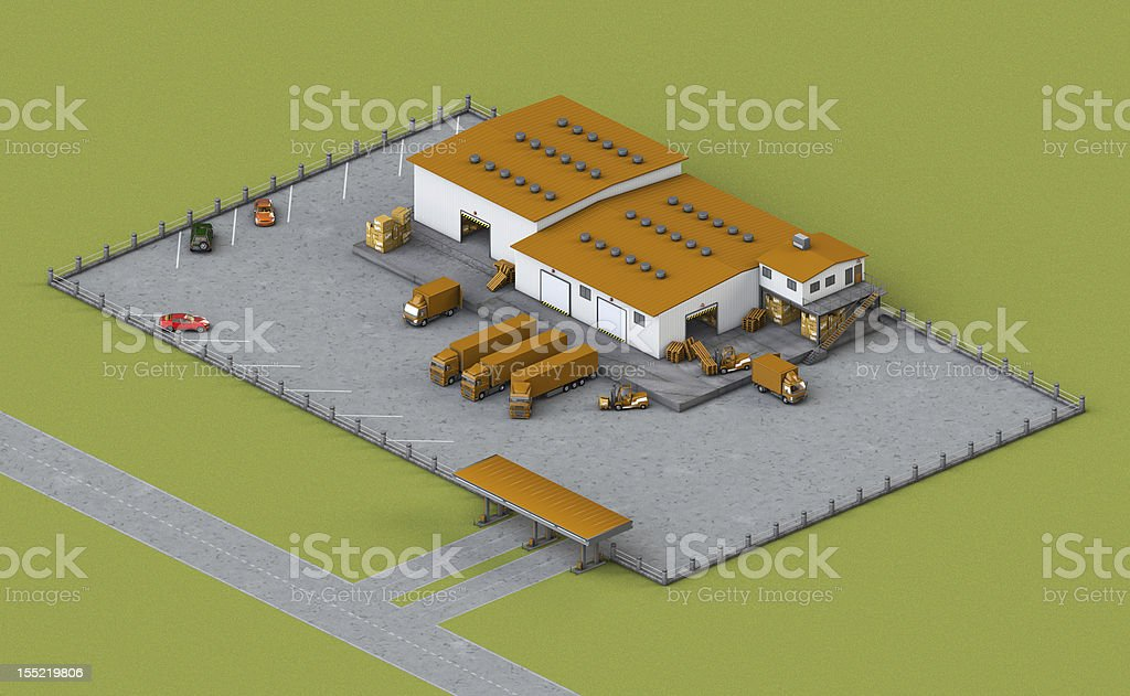 illustration of infrastructure warehouse with truck, loader and boxes royalty-free stock photo